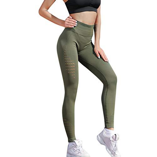 Mnyycxen Yoga Pants, Women's Power Flex Yoga Pants Tummy Control Workout Yoga Capris Pants Leggings Green