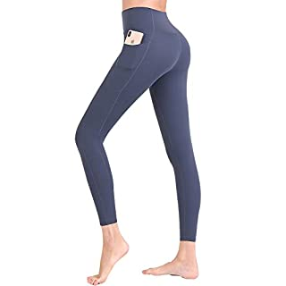 FANDIMU Women Athletic Yoga Pocket Running Compression Pants Gym Tummy Control Sport High Waisted Legging Navy L