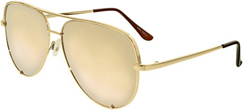 Quay Women's Quay x Desi Perkins High Key Sunglasses, Gold/Gold Mirror, One Size