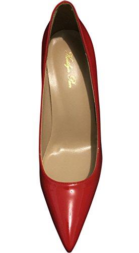 Kaitlyn Pan Cuir Véritable Toutes Les Chaussures Rouges À Talon Haut Stiletto Tout Rouge
