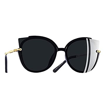 TIANLIANG04 Dame de la mode femmes seule image polarisée Lunettes de soleil Cat Eye Sunglasses UV400,C3Silver