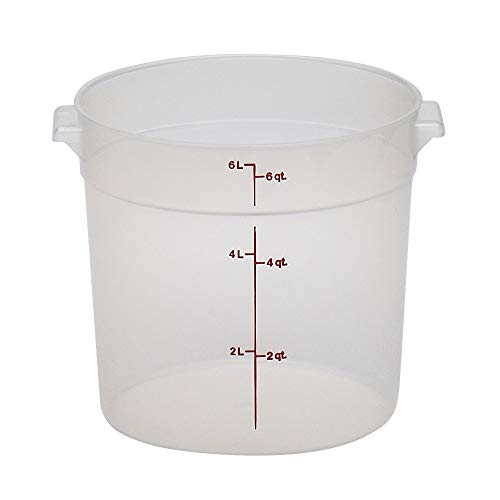 Cambro RFS6PP190 Camwear 6-Quart Round Food Storage Container, Polypropylene, Translucent, NSF Cambro Cold Food Storage Box