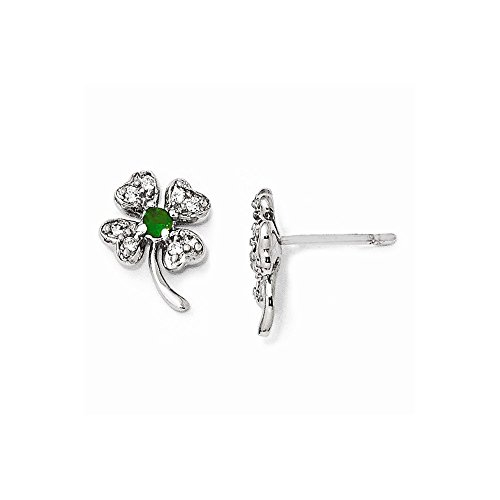 Perfect Jewelry Gift Cheryl M Sterling Silver Glass Sim. Emerald & CZ 4-leaf Clover Post Earring (Emerald Ring Sim)
