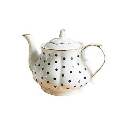 lish Afternoon Tea Set Teapots Bone Porcelain Wave Point Stripe Hand Painted Gold Pot Creative Coffee Pot Simple Kettle: A style ()