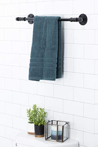 Rustic Pipe Decor 4 Piece Bathware Fixture Set, Wall Mount Kit Includes 18 Inch Towel Bar Rack, Two Robe Hooks and Toilet Paper Holder, Industrial Vintage Farmhouse DIY Bathroom Hardware, Black Pipes by PIPE DÉCOR (Image #2)