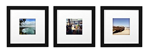Golden State Art, Smartphone Instagram Frames Collection,Set of 3, 8x8-inch Square Photo Wood Frames White Photo Mat & Real Glass 4x4 ()
