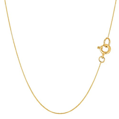 14k Yellow Solid Gold Mirror Box Chain Necklace, 0.45mm, 18