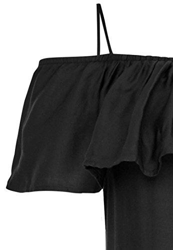 Hallhuber Off-Shoulder-Kleid mit Spitzensaum Ausgestellter Schnitt Schwarz BowURlI7