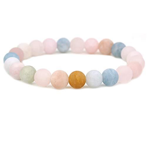 Natural Morganite Beryl Aquamarine Gemstone 8mm Round Beads Stretch Bracelet 7