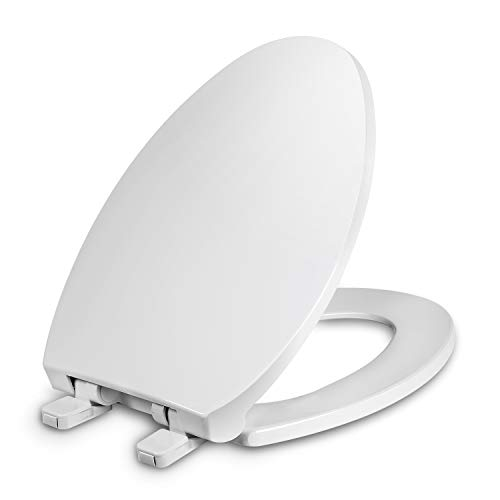 Elongated Toilet Seat with Cover, Slow Close, Easy to Install, Plastic, White, Fits All Elongated or Oval Toilets