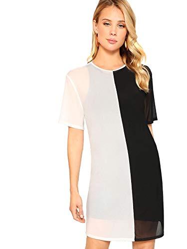 MAKEMECHIC Women's Beach Cover Ups Short Sleeve See Through Sheer Mesh T Shirt Dress Black ()