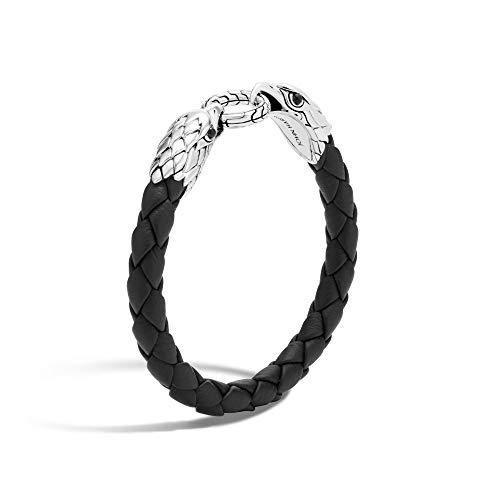 John Hardy Men's Legends Eagle Silver Double Head Bracelet on Woven Black Leather 8mm with Black Onyx Eyes, Size M