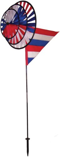 In the Breeze Triple Wheel Patriotic Garden Spinner with Wind Sail