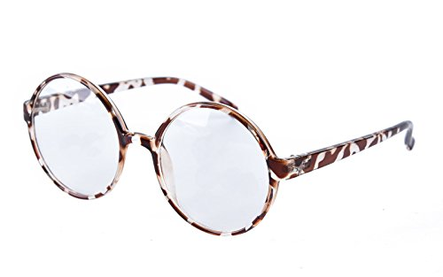 Agstum Retro Round Glasses Frame Clear Lens Fashion Circle Eyeglasses 52mm (Leopard, 52mm)
