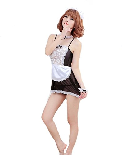 Costume Fruit Forbidden (French Maid Outfit Lingerie Cosplay Erotic Bedroom Costume Teddy Set (One)