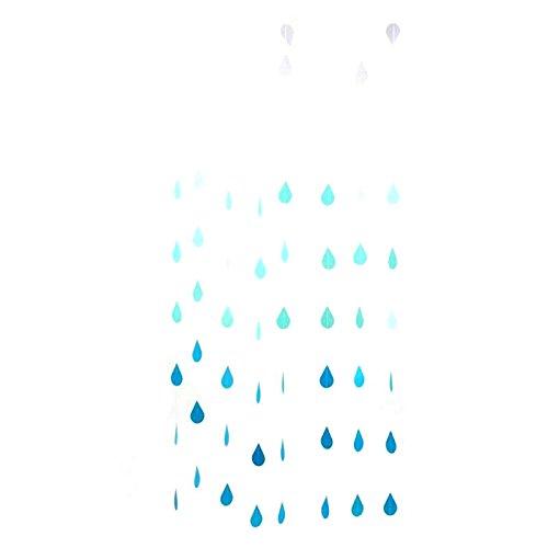 WEFOO Gradual Blue Colors Paper Raindrop Garland For Nursery decor April showers Spring Shower Raindrop Baby Shower