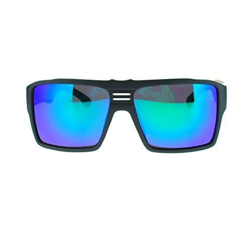 Futuristic Mens Large Sport mirrored Lens Thick Plastic Sunglasses Matte Black Teal