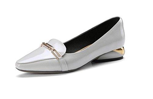 De Zapatos De Zapatos Planos Tacón Bajo De Cuero Metal Las Señoras Grey De fdrqUwd