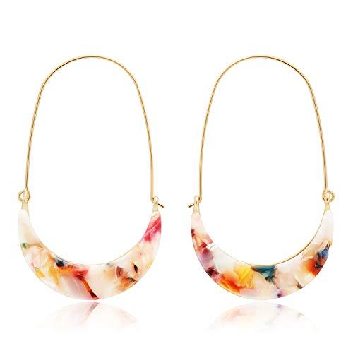 - MERTH Acrylic Resin Tortoise Hoop Earrings Leopard Earrings Statement Mottled Earrings Drop and Dangle Earrings Fashion Jewelry for Women (New Floral Print)