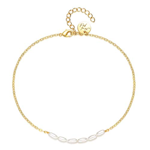 VACRONA Gold Freshwater Pearls Anklet,18K Gold Filled Beach Cultured Cute Pearls Dainty Handmade Ankle Bracelet for Women