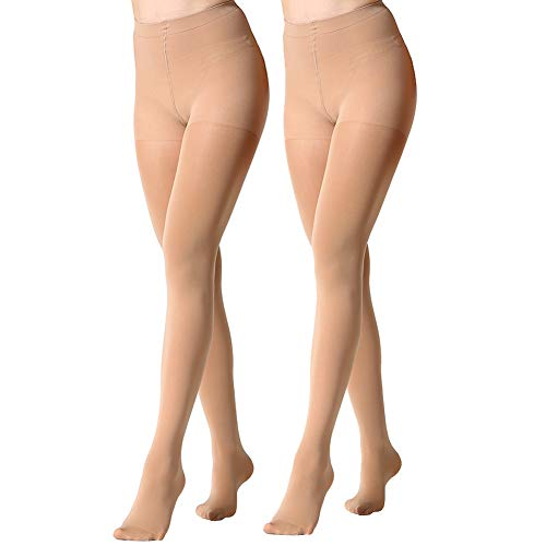 MANZI Women's 2 Pairs Opaque Control-Top Tights 70 Denier Suntan -