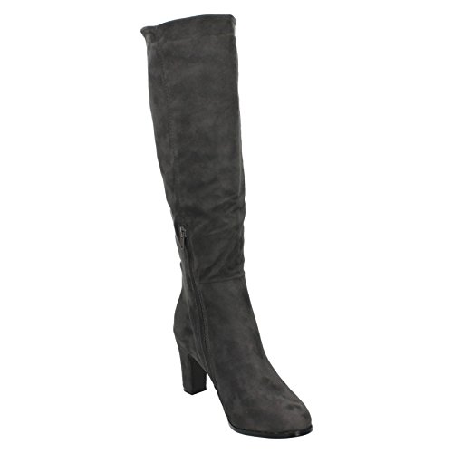 Spot Heeled F50554 On Knee High Boots Grey Ladies vR7vwEqr