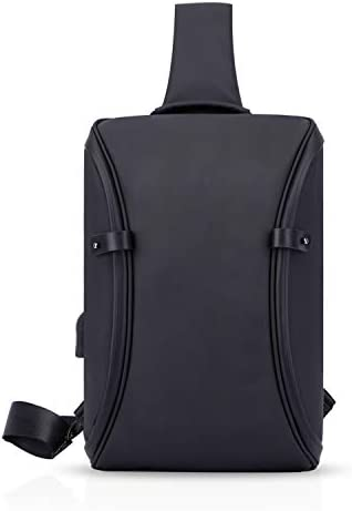 FANDARE Sling Bag with USB Charging Port Chest Bag Men Shoulder Bag Polyester Black