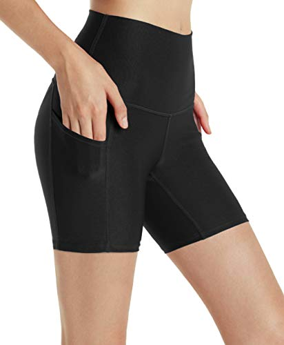 TSLA Shorts Bike Running Yoga w Hidden Pockets, Pocket Thick 5inch(fys05) - Black, Large (Size 10-12_Hip41-43 - Running Bike