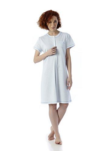 Mabel Intima - Camicia da notte a maniche corte - Taglie dalla 3 alla 10. Blu chiaro e bianco.