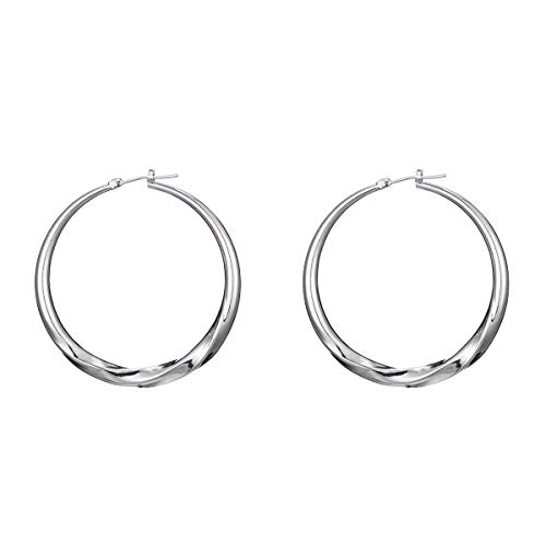 1 Pairs Big Hoop Earrings, Copper material Hypoallergenic Hoop Earrings in Gold Plated Rose Gold Plated Silver for Women Girls(White3)
