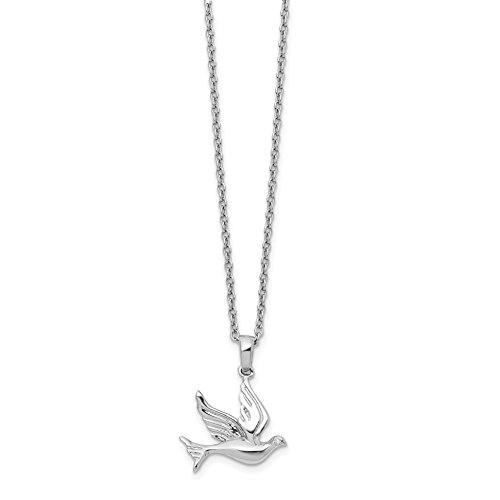 ICE CARATS 925 Sterling Silver Diamond Dove Chain Necklace Animals/insect Fine Jewelry Gift Set For Women Heart