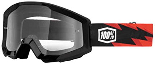 100% Strata Goggles Slash Black Red With Clear Lens