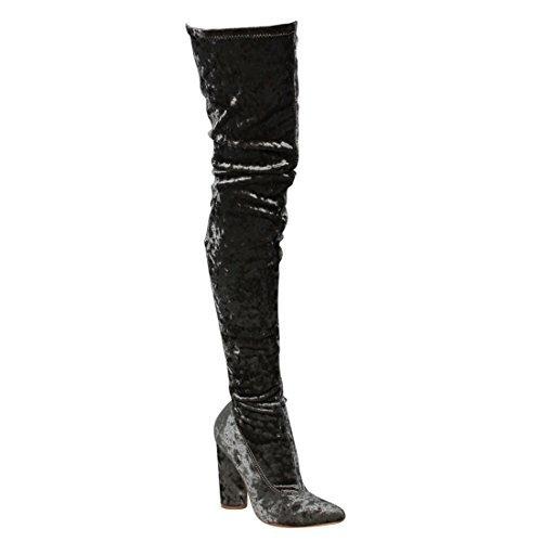 CAPE ROBBIN GD80 Women's Snug Fit Inside Zip Stretchy Block Heel Thigh High Boot (Velvet Thigh High Boots)