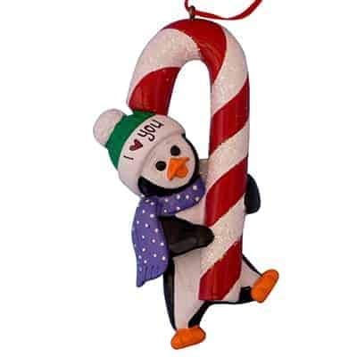 Penguin Candy Cane Personalized Ornament - (Unique Christmas Tree Ornament - Classic Decor for A Holiday Party - Custom Decorations for Family Kids Baby Military Sports Or Pets) ()