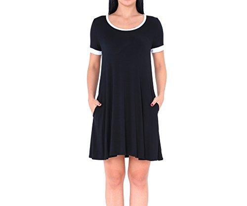Femme Casual Avec Manche Robe Acvip Courte Noir Eté Poche aqSd6Bw