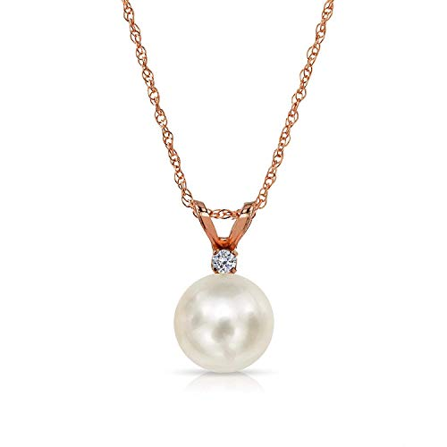(14K Rose Gold 1/100 Ct Diamond & White 7-7.5mm Freshwater Cultured Pearl Pendant Necklace (G-H, SI1-SI2),)