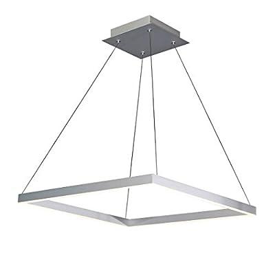 "Vonn Atria 20"", Adjustable Suspension Fixture, Modern Square Chandelier Lighting in Silver Integrated LED"