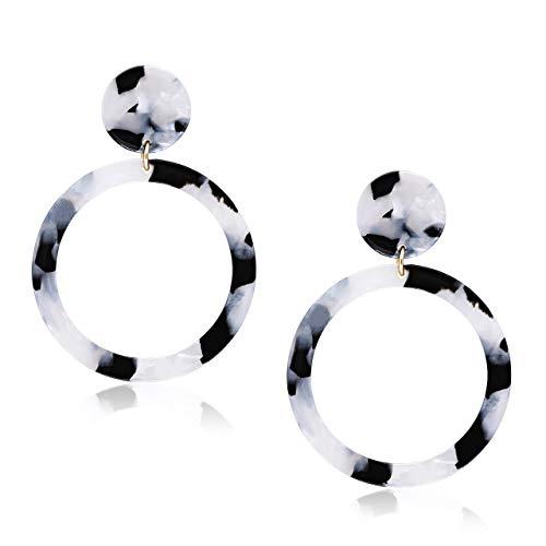 - MOLOCH Acrylic for Women Geometry Resin Drop Dangle Earrings Bohemia Tortoise Shell Hoop Earrings Mottled Statement Stud Earrings Fashion Jewelry (J-White and Black)