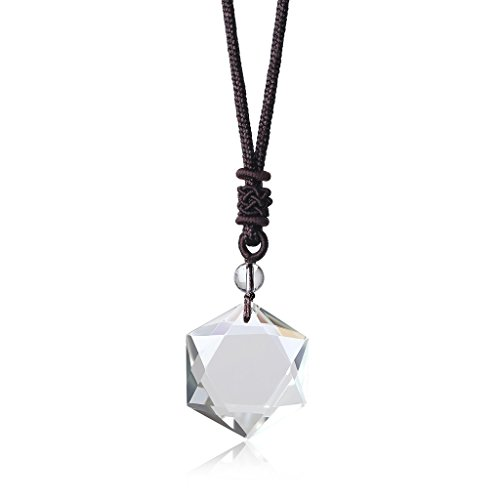 COAI Clear Quartz Jewish Star of David Healing Pendant Adjustable Cord