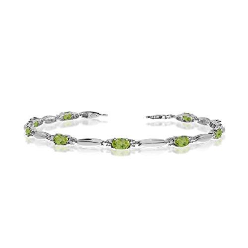2.52 Carat (ctw) 10k White Gold Oval Green Peridot and Diamond Tennis Bracelet - 7