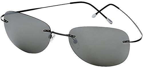 Ultra Light Weight Titanium Light Weight Rimless Gunmetal Frame with Silver Mirror Lens, Case Uncluded ()