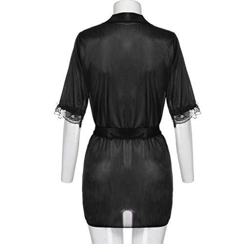 Da Con Modaworld elegante Perizoma In Pigiama Black Cintura Donna ❤️ Set Corta Raso Notte Kimono Vestaglia Accappatoi Camicia 71Hvax