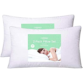 Celeep 2-Pack King Bed Pillows - 20 x 36-1200GSM Ultra Soft Sand Washed Cover, Sleeping Pillows with Lofty Microfiber Filling