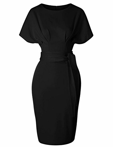 GownTown Women's 50s 60s Vintage Sexy Fitted Office Pencil Dress Black ()