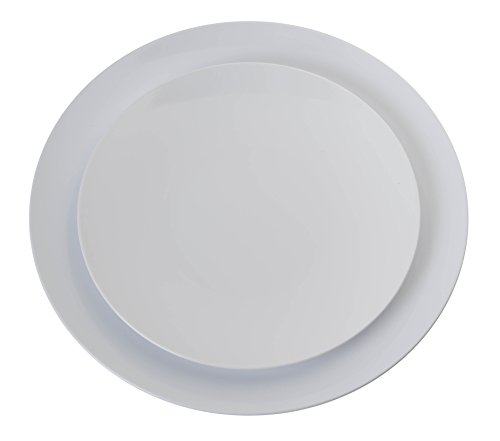 Trendables 40 - Pack Combo Premium Trend White Disposable Plastic Plates, Food Grade Elegant Plastic Dinner Plates Includes: 20 x 10.25'' Dinner Plates & 20 x 8'' Salad/Desset Plates by Trendables