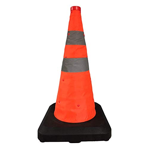BESEA 18 inches Collapsible Traffic Cones Pop up Safety Emergency Road Parking Reasonable Structure Construction Cones Multi Purpose Cones Fluorescent Orange Reflective Cone Heavy Duty Rubber Base