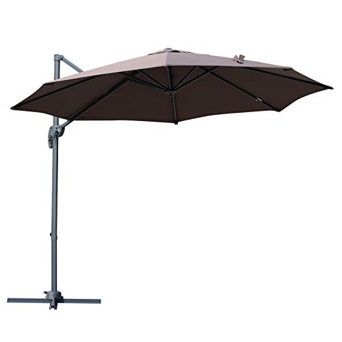 Outsunny 10' Hanging Tilt Offset Cantilever Patio Umbrella with Base Stand - Coffee