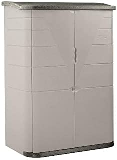 product image for Rubbermaid Vertical Resin Weather Resistant Outdoor Garden Storage Shed, Olive and Sandstone