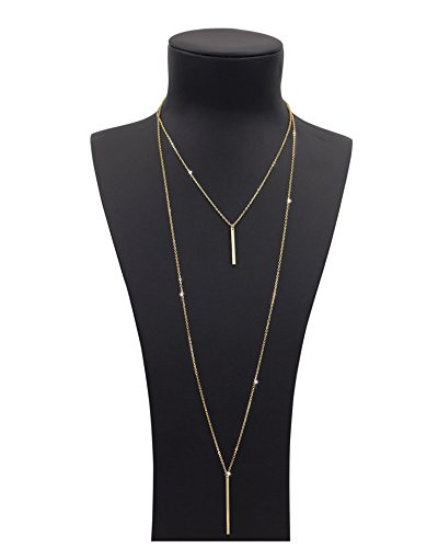 Sundear Layered Bar Necklace Multilayer Pendant Necklace for Women