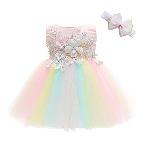 Weileenice Baby Girls Costume Cosplay Dress Rainbow Tulle 3D Embroidery Beading Princess Tutu Dresses (12 Months, Peach/Rainbow(with Headband)) -